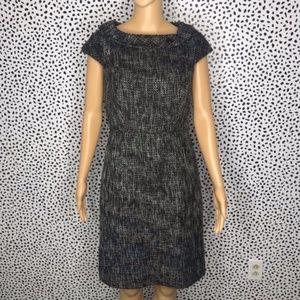 Ann Taylor black tweed cap sleeve dress si…